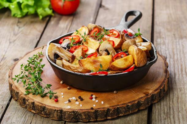 Картофель запеченный с грибами