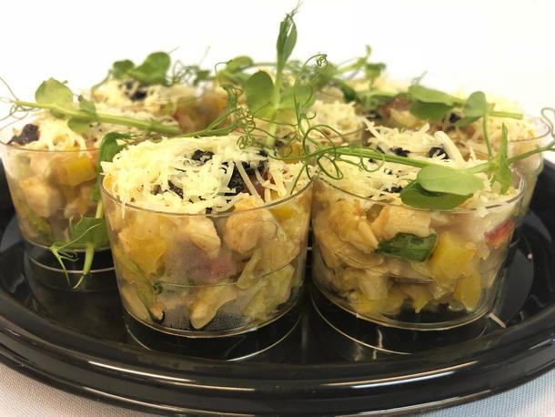 Фуршетный салатик мини из индейки с Пармезаном и пастой из абрикосовой косточки