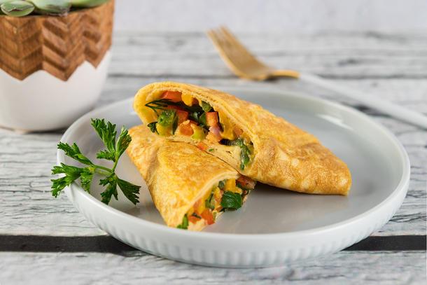 Фритатта с овощами и сыром.