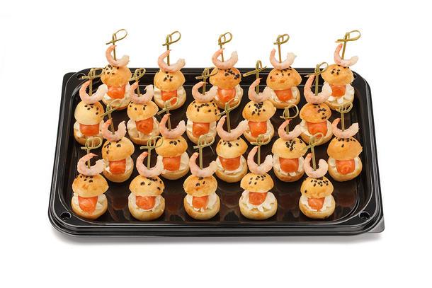 Канапе мини-бургеры со слабосоленым лососем, сливочным сыром и креветкой, 10 шт