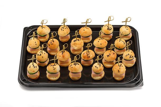 Канапе мини-бургеры с ветчиной и сыром, 10 шт