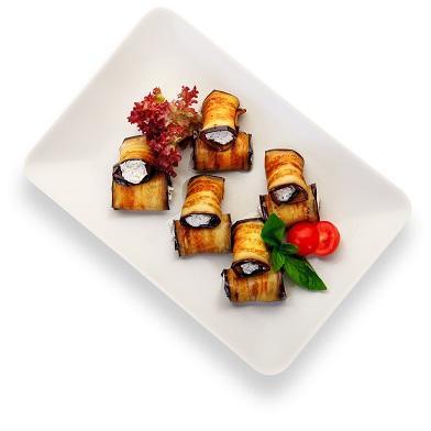 Баклажаны с сырным муссом и грецким орехом